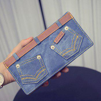 Buy Stylish Double Pocket Stitching Design Women's Wallet BLUE