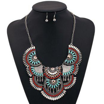 A Suit of Fake Gem Fish Scale Bead Necklace and Earrings - COLORMIX
