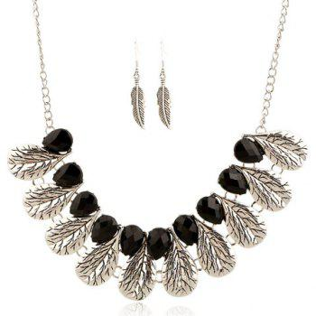A Suit of Gorgeous Fake Gem Leaf Feather Necklace and Earrings For Women