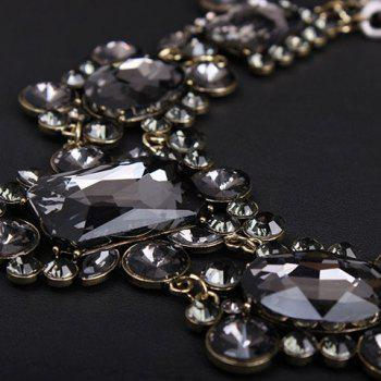 Fake Crystal Layered Geometric Necklace - GRAY