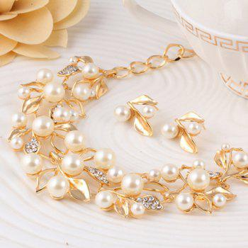 A Suit of Rhinestone Faux Pearl Necklace and Earrings - GOLDEN