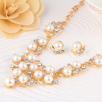 A Suit of Rhinestone Faux Pearl Hollow Out Necklace and Earrings - GOLDEN