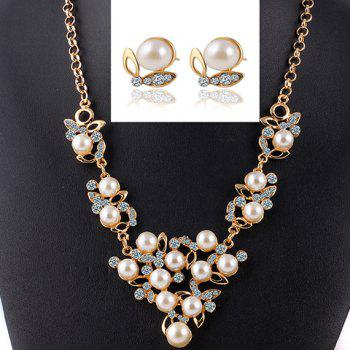 A Suit of Rhinestone Faux Pearl Hollow Out Necklace and Earrings