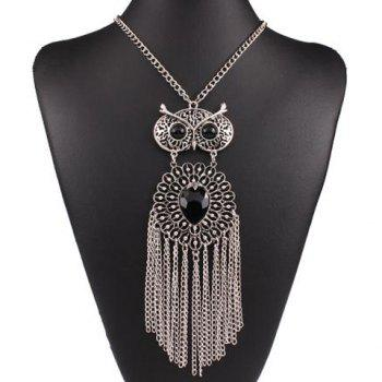 Fake Gem Hollow Out Owl Fringed Necklace