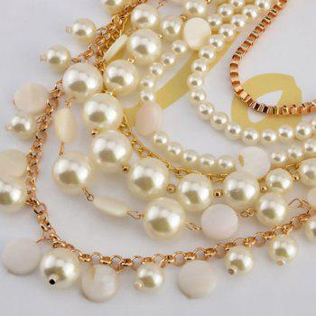 A Suit of Fake Pearls Multilayer Necklace and Earrings - WHITE/GOLDEN