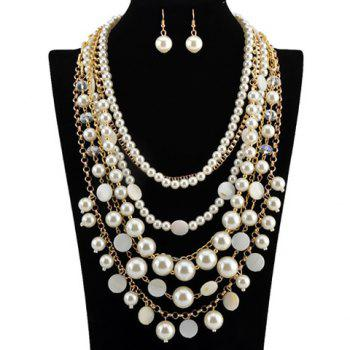 A Suit of Fake Pearls Multilayer Necklace and Earrings