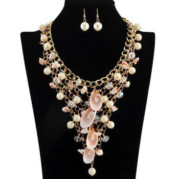 A Suit of Shell Faux Pearls Multilayer Necklace and Earrings