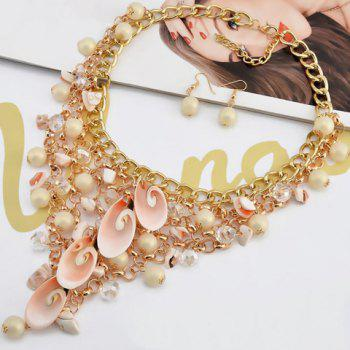 A Suit of Shell Faux Pearls Multilayer Necklace and Earrings - COLORMIX