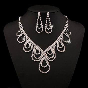 A Suit of Rhinestoned Water Drop Necklace and Earrings