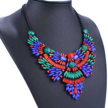 Faux Crystal Oval Necklace - COLORMIX