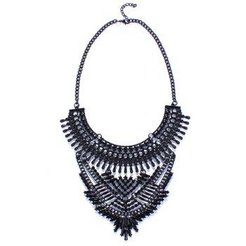 Faux Gem Hollow Out Necklace - BLACK