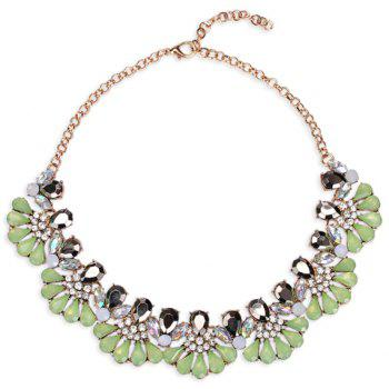 Rhinestone Alloy Water Drop Necklace - GREEN