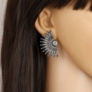 Rhinestone Palm Leaf Stud Earrings - COLORMIX