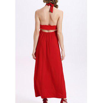 Fashionable Halter Backless Solid Color Women's Dress