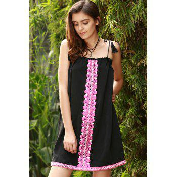 Ethnic Women's Embroidered Cami Dress - BLACK XL