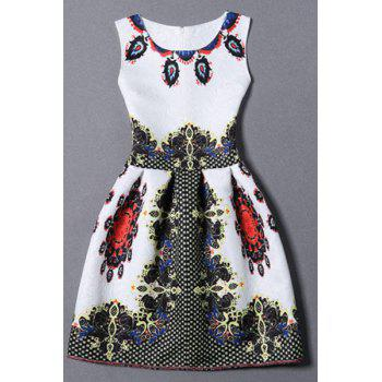 Vintage Round Collar Sleeveless Zippered Printed Women's Dress