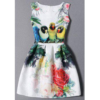 Birds and Floral Sleeveless Dress