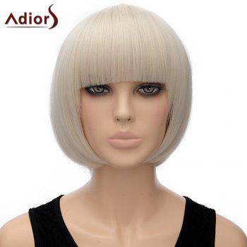 Attractive Full Bang Off-White Synthetic Bob Style Straight Short Women's Adiors Wig