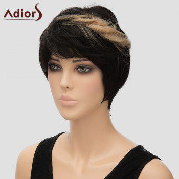 Trendy Brown Highlight Short Synthetic Fluffy Straight Women's Capless Adiors Wig - COLORMIX