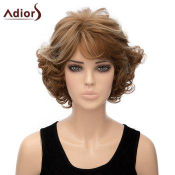 Fluffy Curly Brown Mixed Elegant Short Side Bang Synthetic Adiors Wig For Women