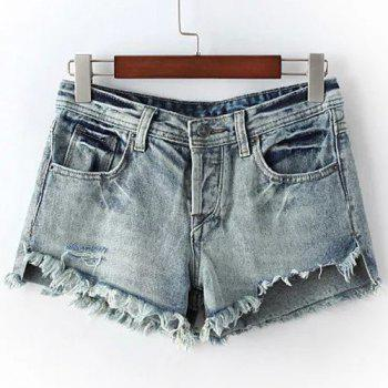 Chic Women's High Waist Fringed Ripped Denim Shorts