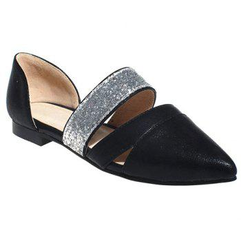 Fashion Color Block and Sequins Design  Women's Flat Shoes - BLACK 39