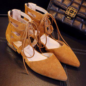 Lace Up Point Toe Flat Shoes - 39 39
