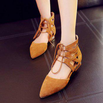 Lace Up Point Toe Flat Shoes - EARTHY EARTHY