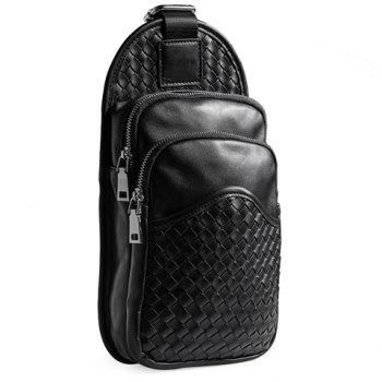 Classic Solid Color and Checked Design Men's Messenger Bag - BLACK