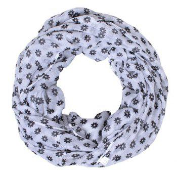 Chic Fulled Small Flowers Pattern Women's Voile Bib Scarf - WHITE