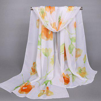Chic Oil Painting Flower Pattern Women's Chiffon Scarf