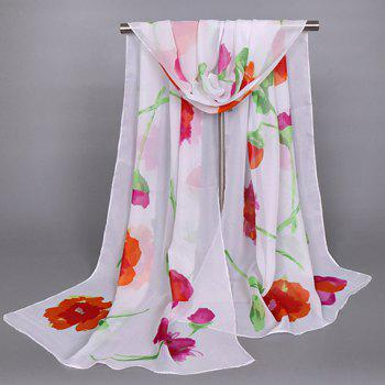 Buy Chic Oil Painting Flower Pattern Women's Chiffon Scarf RED