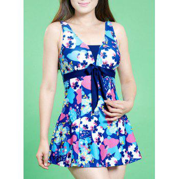 Sweet Sleeveless Floral Pattern Bowknot Embellished Women's Swimsuit