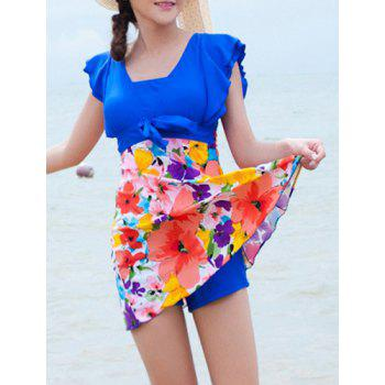 Sweet Short Sleeves Flouncing Floral Pattern Bowknot Women's Swimsuit