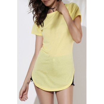 Casual Women's Jewel Neck Short Sleeve Solid Color Slit Dress - YELLOW 2XL