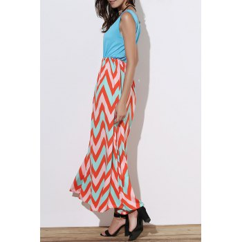 Stylish Sleeveless Scoop Neck Wave Striped Women's Sundress