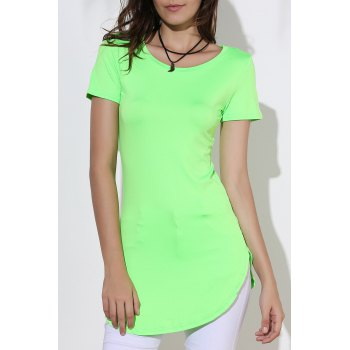 Sexy Round Neck Short Sleeve Furcal Solid Color Women's Dress - GREEN S