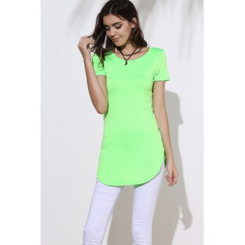 Sexy Round Neck Short Sleeve Furcal Solid Color Women's Dress - S S