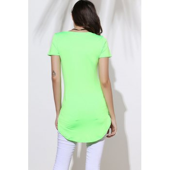 Sexy Round Neck Short Sleeve Furcal Solid Color Women's Dress - GREEN GREEN