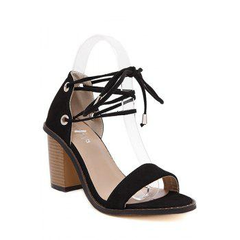 Concise Chunky Heel and Lace-Up Design Sandals For Women