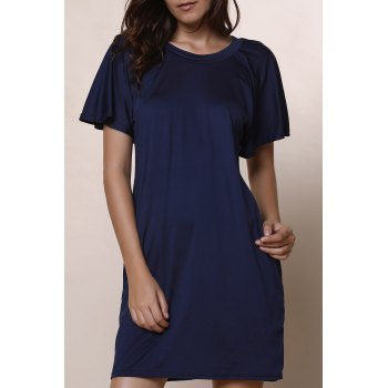 Casual Scoop Collar Short Sleeve Plus Size Solid Color Women's Dress