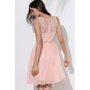 Round Collar Sleeveless Dress - LIGHT PINK L