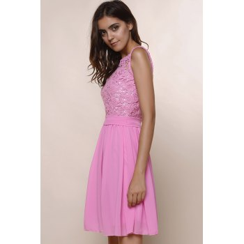 Round Collar Sleeveless Dress - DEEP PINK XL
