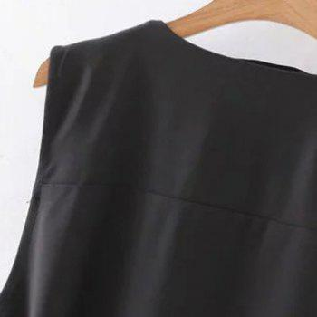 Stylish Women's Lapel Solid Color Belted Waistcoat - BLACK S