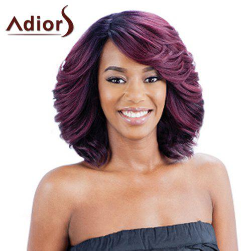 Nobby Purple Mixed Synthetic Shaggy Wave Medium Capless Adiors Wig For Women - COLORMIX