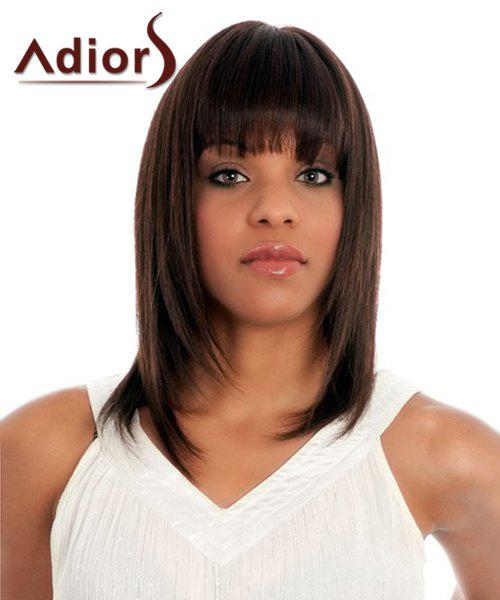 Trendy Silky Straight Dark Brown Synthetic Medium Full Bang Women's Adiors Wig - DEEP BROWN
