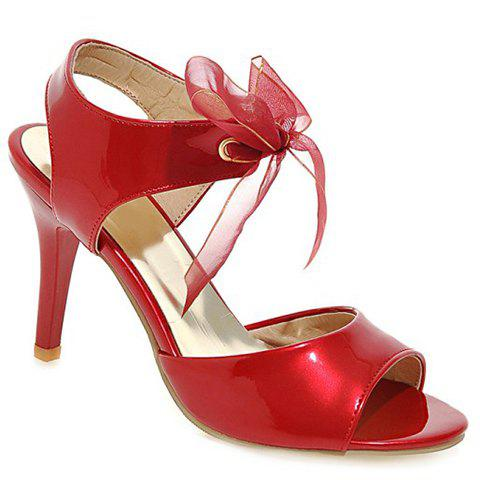 Stylish Peep Toe and Lace-Up Design Women's Sandals - RED 34