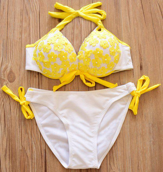 Trendy Flower Appliques Halter Bikini Suit Swimwear For Women - YELLOW S