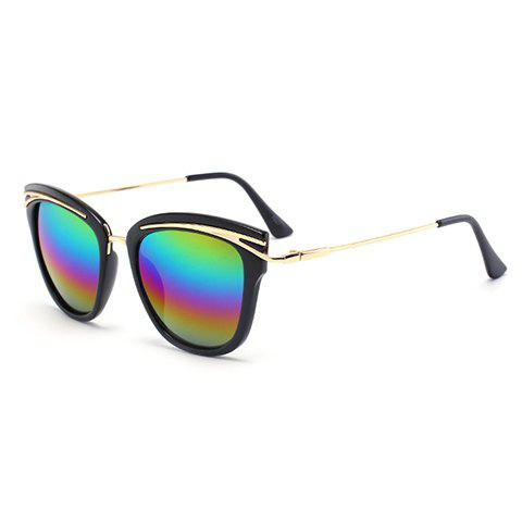 Chic Women's Golden Alloy Inlay Black Frame Rainbow Color Lenses Sunglasses - BLACK
