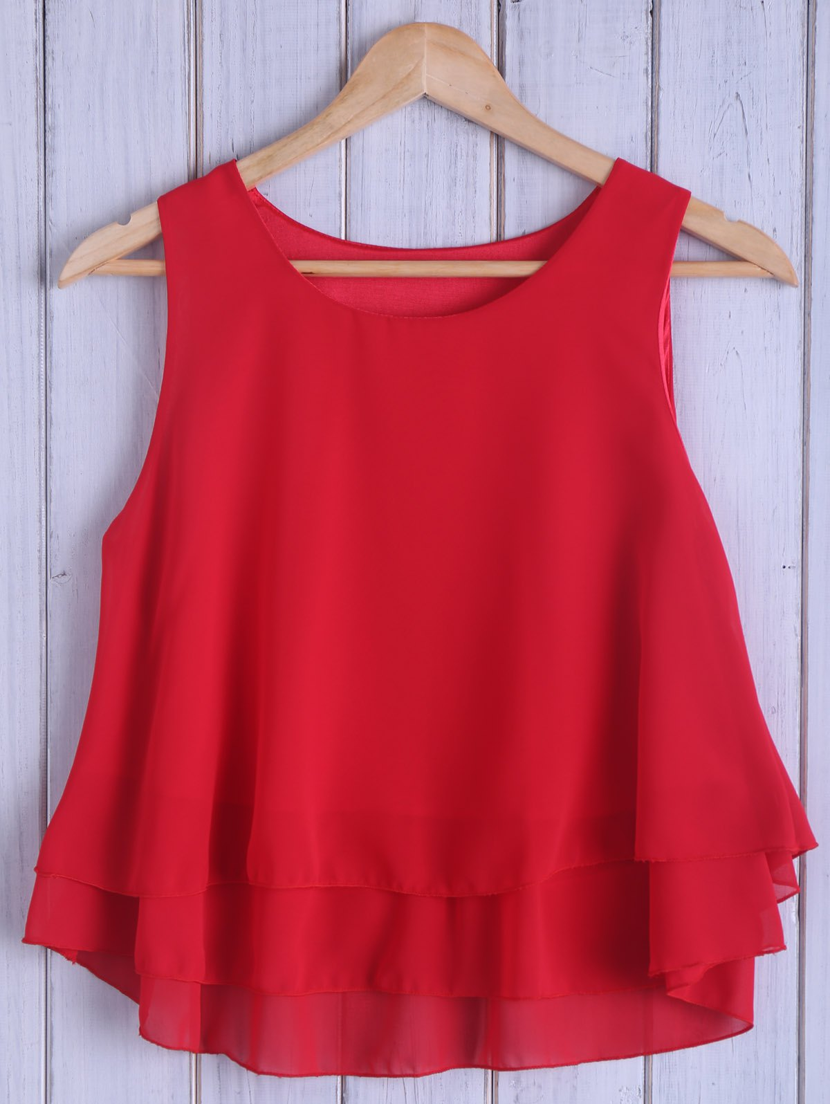 Fashionable Round Neck Loose-Fitting Pure Color Women's Tank Top - RED ONE SIZE(FIT SIZE XS TO M)